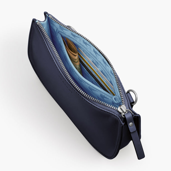 Interior Zipper Pocket - The Waverley 2 - Nappa Leather - Deep Navy / Silver / Azure - Crossbody - Lo & Sons