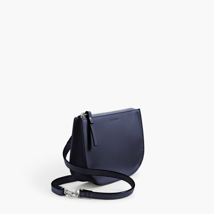 Side - The Waverley 2 - Nappa Leather - Deep Navy / Silver / Azure - Crossbody - Lo & Sons