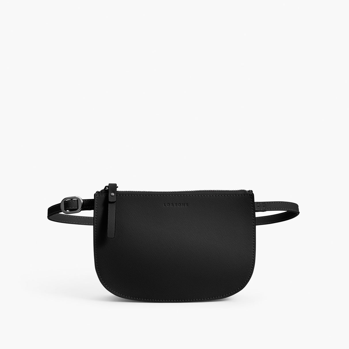 Front Beltbag - Waverley 2 - Saffiano Leather - Black / Gunmetal / Grey - Crossbody Bag - Lo & Sons