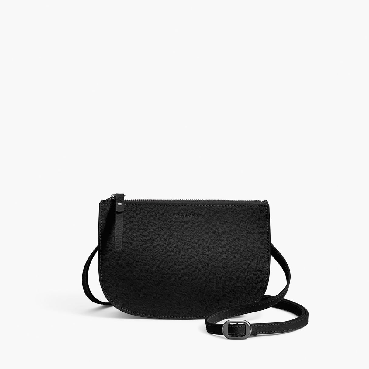 Front Crossbody - Waverley 2 - Saffiano Leather - Black / Gunmetal / Grey - Crossbody Bag - Lo & Sons