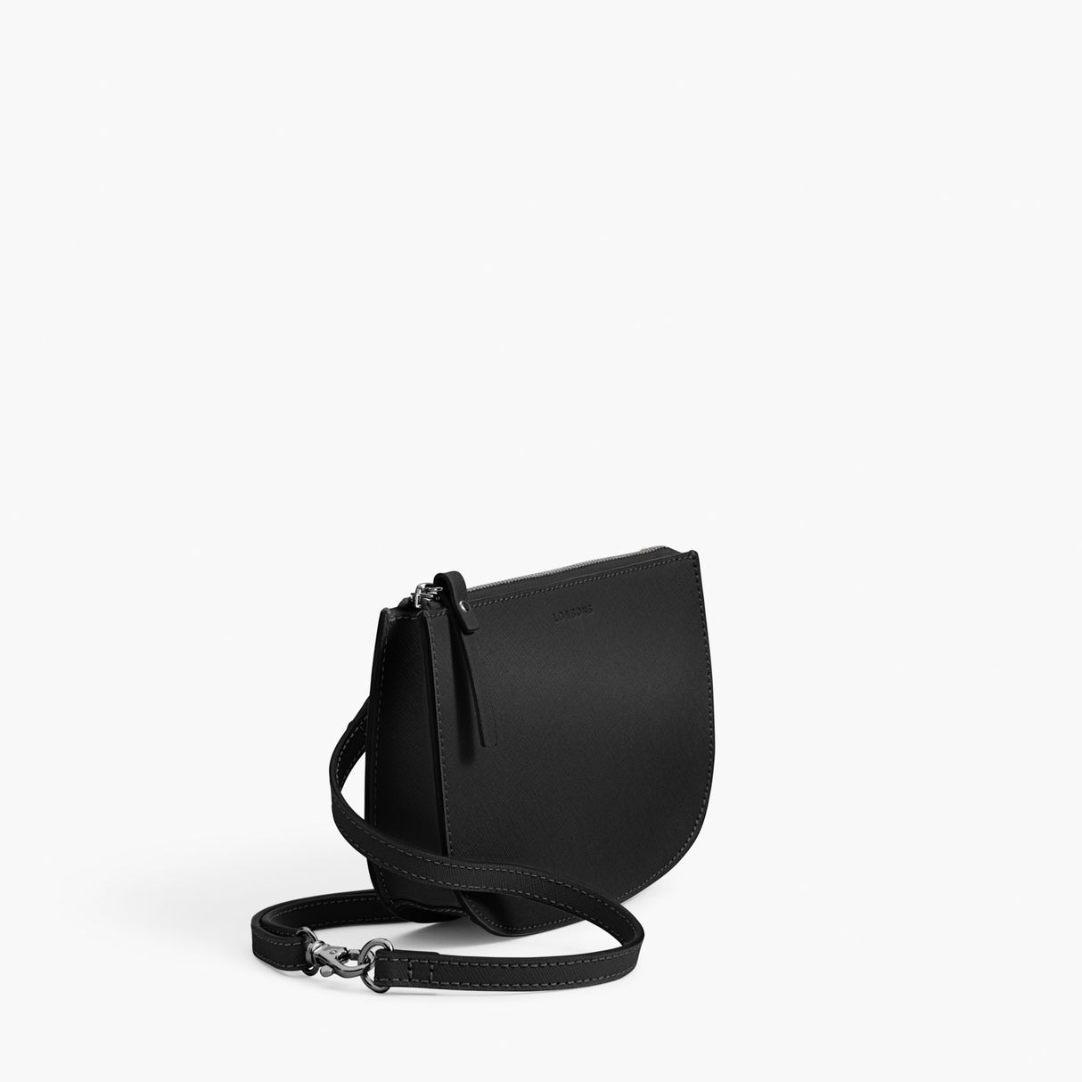 Side - Waverley 2 - Saffiano Leather - Black / Gunmetal / Grey - Crossbody Bag - Lo & Sons