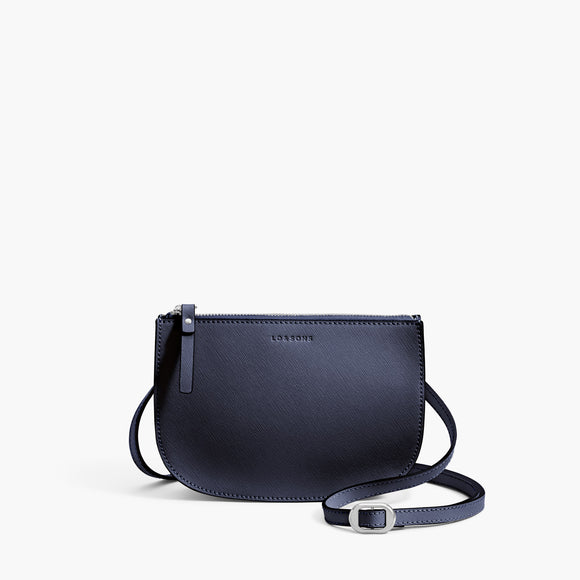 Front Crossbody - Waverley 2 - Saffiano Leather - Deep Navy / Silver / Azure - Crossbody Bag - Lo & Sons