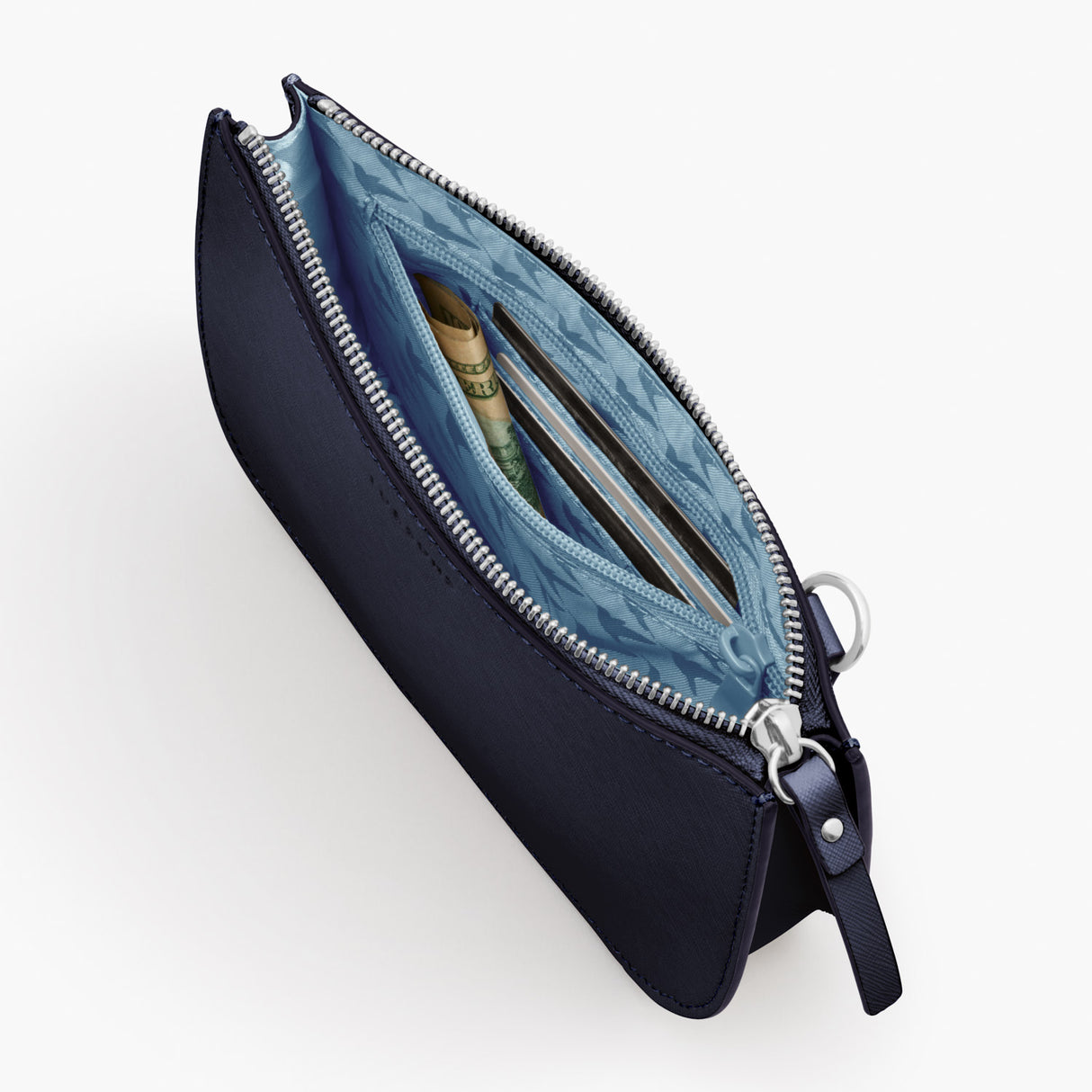 Interior Zipper Pocket - Waverley 2 - Saffiano Leather - Deep Navy / Silver / Azure - Crossbody Bag - Lo & Sons