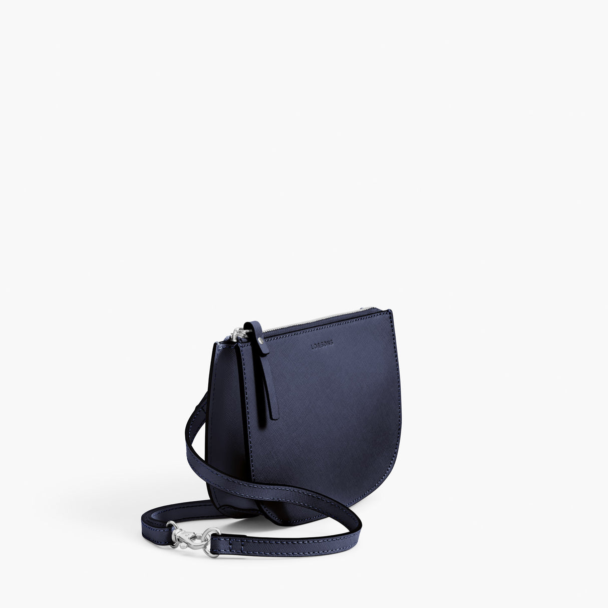 Side - Waverley 2 - Saffiano Leather - Deep Navy / Silver / Azure - Crossbody Bag - Lo & Sons