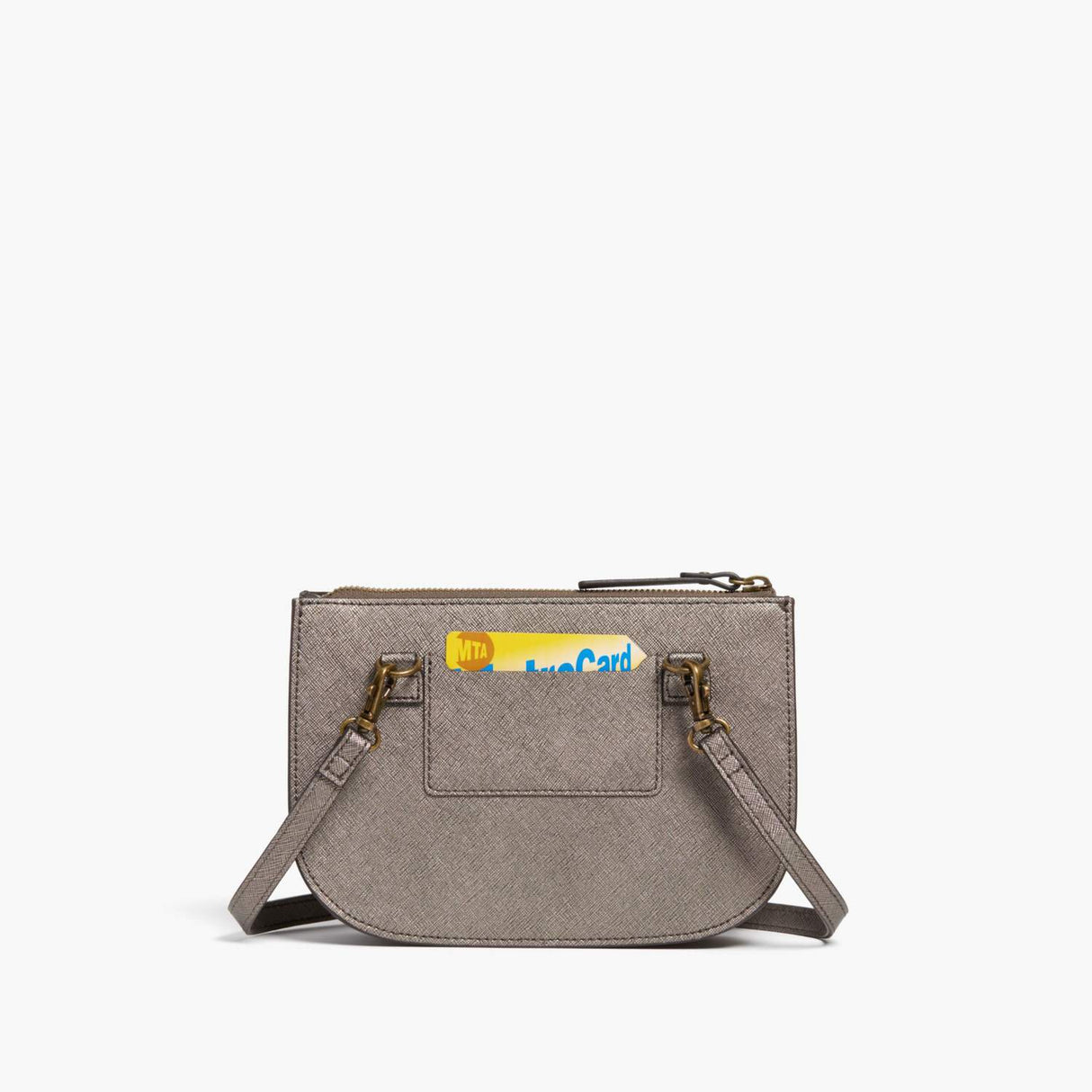 Back Card Slot - Waverley 2 - Saffiano Leather - Graphite / Brass / Grey - Crossbody Bag - Lo & Sons