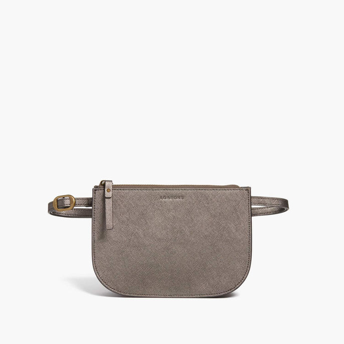 Front Belt - Waverley 2 - Saffiano Leather - Graphite / Brass / Grey - Crossbody Bag - Lo & Sons