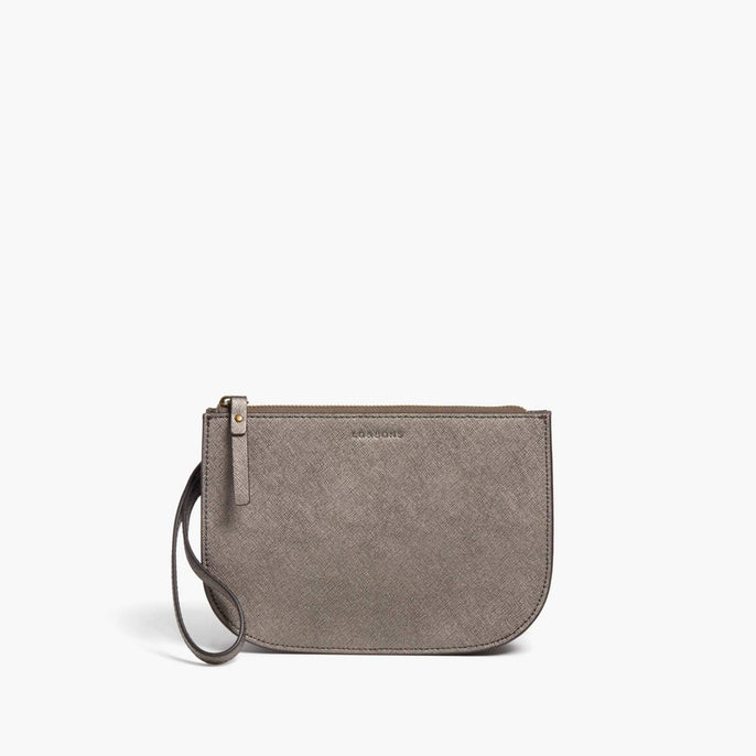 Side Wristlet - Waverley 2 - Saffiano Leather - Graphite / Brass / Grey - Crossbody Bag - Lo & Sons
