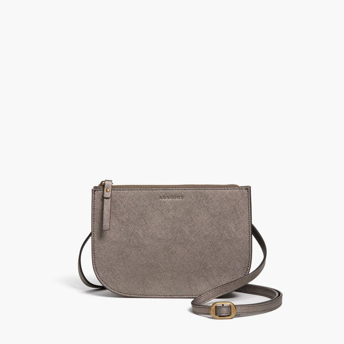 Front - Waverley 2 - Saffiano Leather - Graphite / Brass / Grey - Crossbody Bag - Lo & Sons