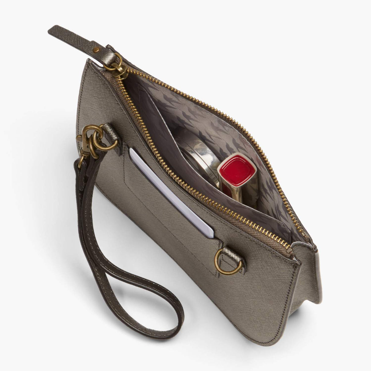 Interior Pocket - Waverley 2 - Saffiano Leather - Graphite / Brass / Grey - Crossbody Bag - Lo & Sons