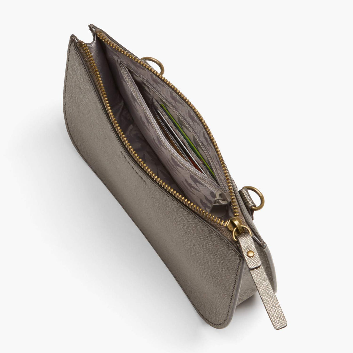 Interior Zipper - Waverley 2 - Saffiano Leather - Graphite / Brass / Grey - Crossbody Bag - Lo & Sons