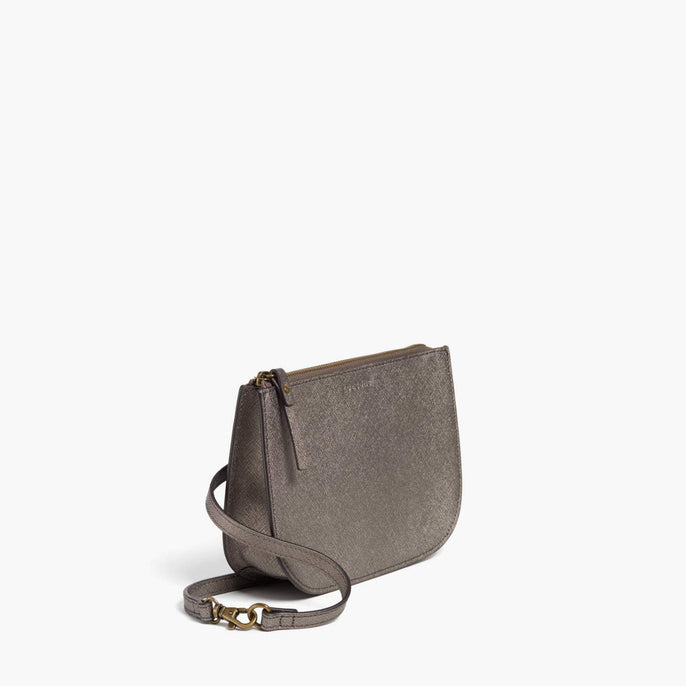 Side - Waverley 2 - Saffiano Leather - Graphite / Brass / Grey - Crossbody Bag - Lo & Sons