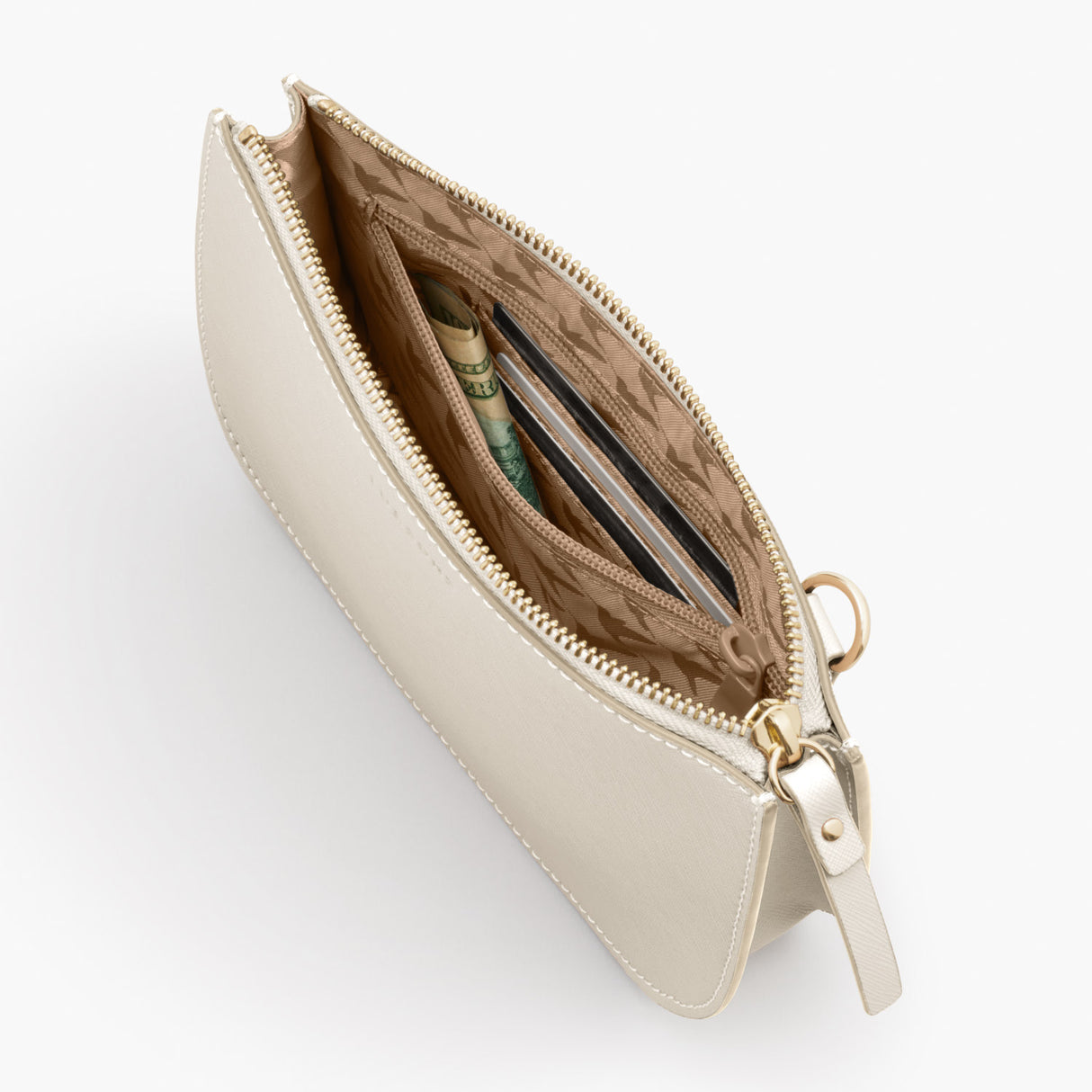 Pocket Crossbody - The Waverley 2 - Saffiano Leather - Ivory / Gold / Camel - Crossbody - Lo & Sons
