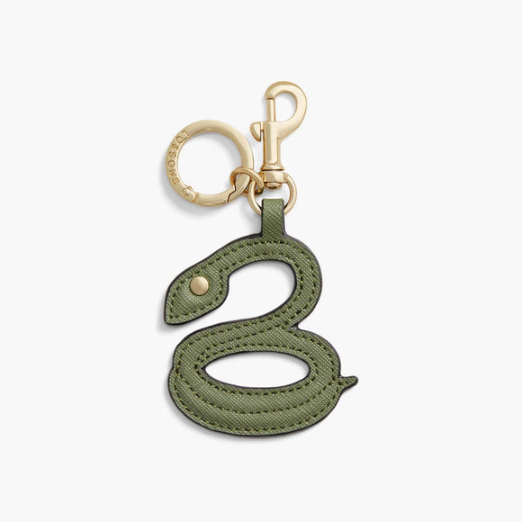 Front - Year of the Snake Charm - Saffiano Leather - Sage Green - Small Accessory - Lo & Sons