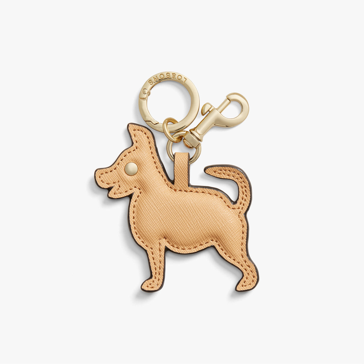 Front - Year of the Dog Charm - Saffiano Leather - Sand - Small Accessory - Lo & Sons