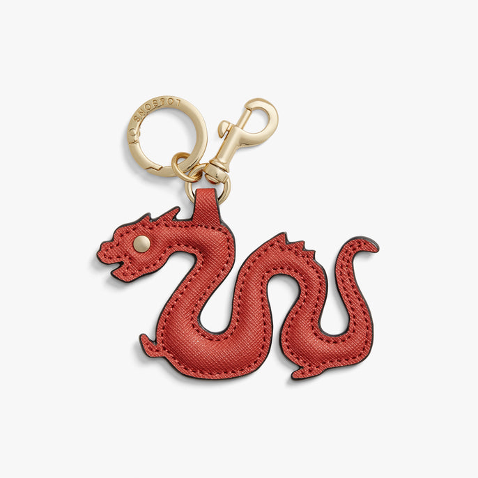 Front - Year of the Dragon Charm - Saffiano Leather - Santa Fe Red - Small Accessory - Lo & Sons