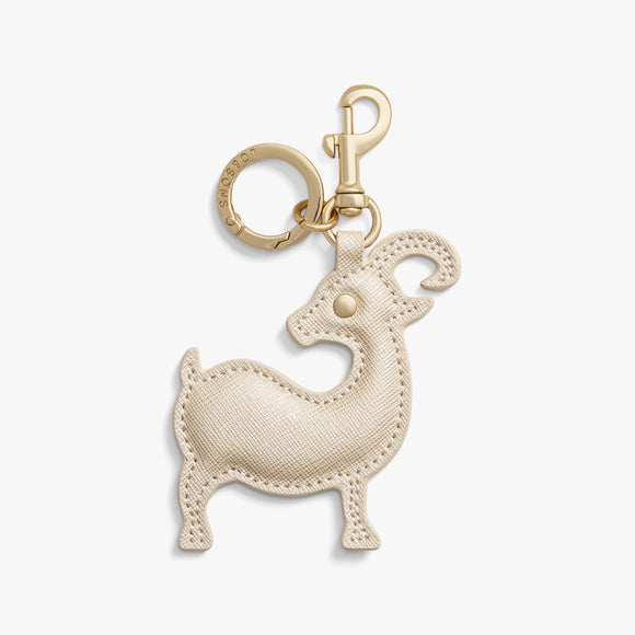 Front - Year of the Goat Charm - Saffiano Leather - Champagne - Small Accessory - Lo & Sons