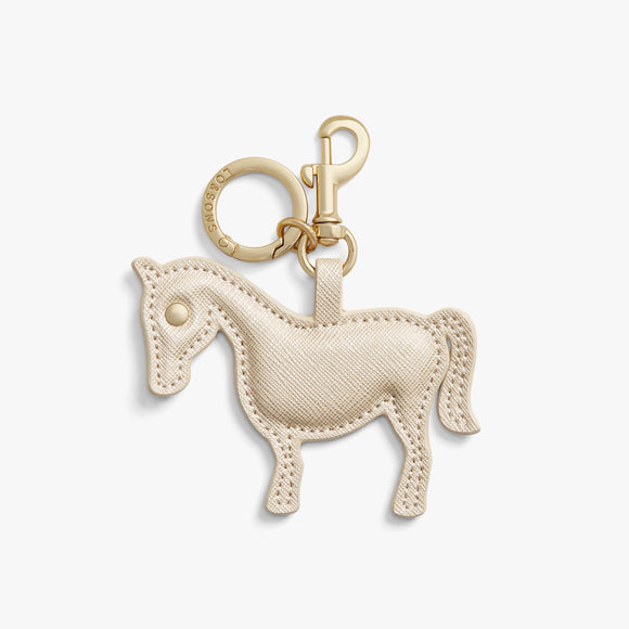 Front - Year of the Horse Charm - Saffiano Leather - Champagne - Small Accessory - Lo & Sons