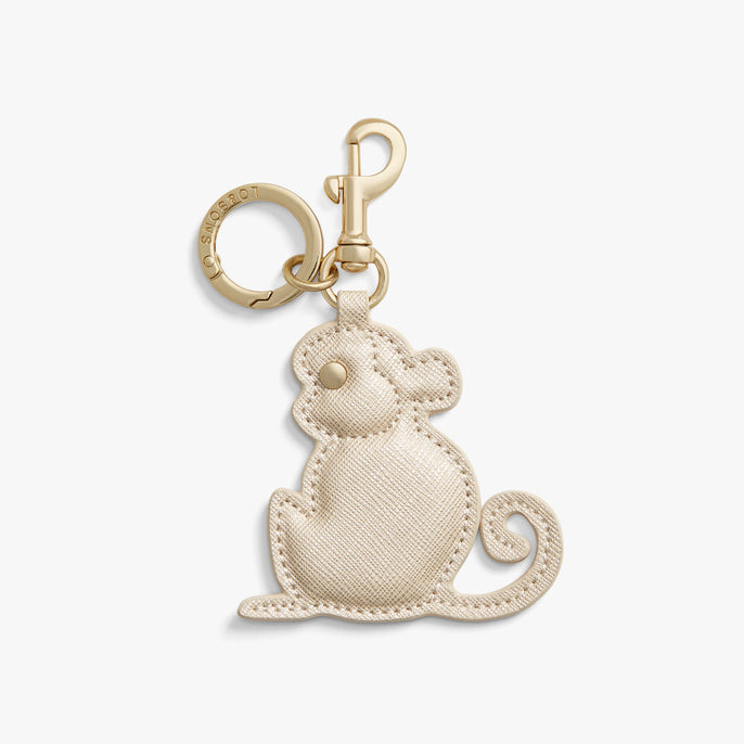 Front - Year of the Monkey Charm - Saffiano Leather - Champagne - Small Accessory - Lo & Sons