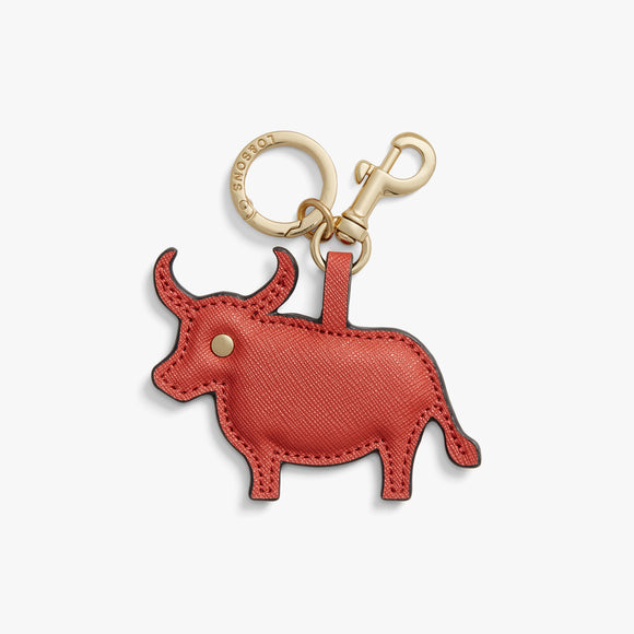 Front - Year of the Ox Charm - Saffiano Leather - Santa Fe Red - Small Accessory - Lo & Sons