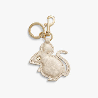 Front - Year of the Rat Charm - Saffiano Leather - Champagne - Small Accessory - Lo & Sons