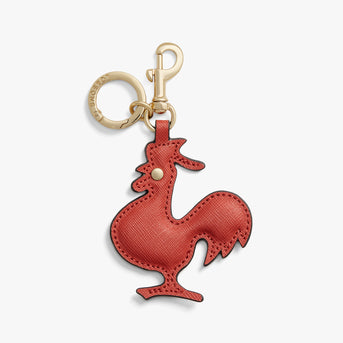 Front - Year of the Rooster Charm - Saffiano Leather - Santa Fe Red - Small Accessory - Lo & Sons