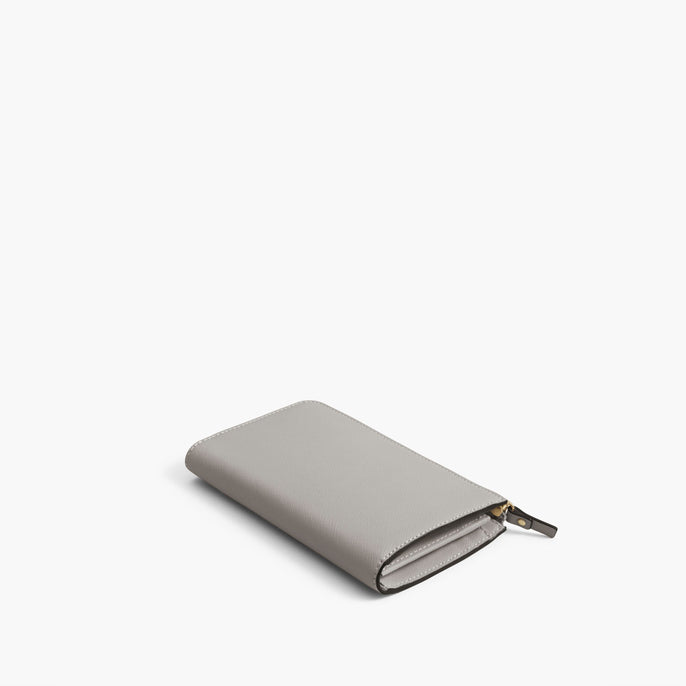 Back - The Leather Wallet - Saffiano Leather - Light Grey / Gold / Grey - Small Accessory - Lo & Sons