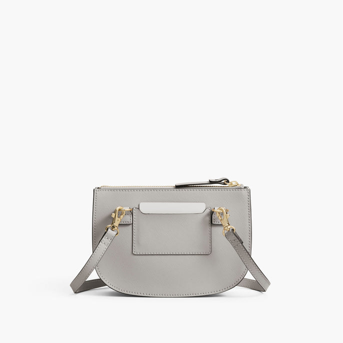 Back - The Waverley 2 - Saffiano Leather - Light Grey / Gold / Grey - Crossbody - Lo & Sons