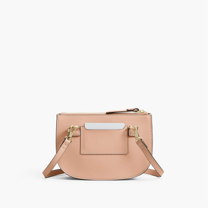 Back - The Waverley 2 - Saffiano Leather - Rose Quartz / Gold / Camel - Crossbody - Lo & Sons