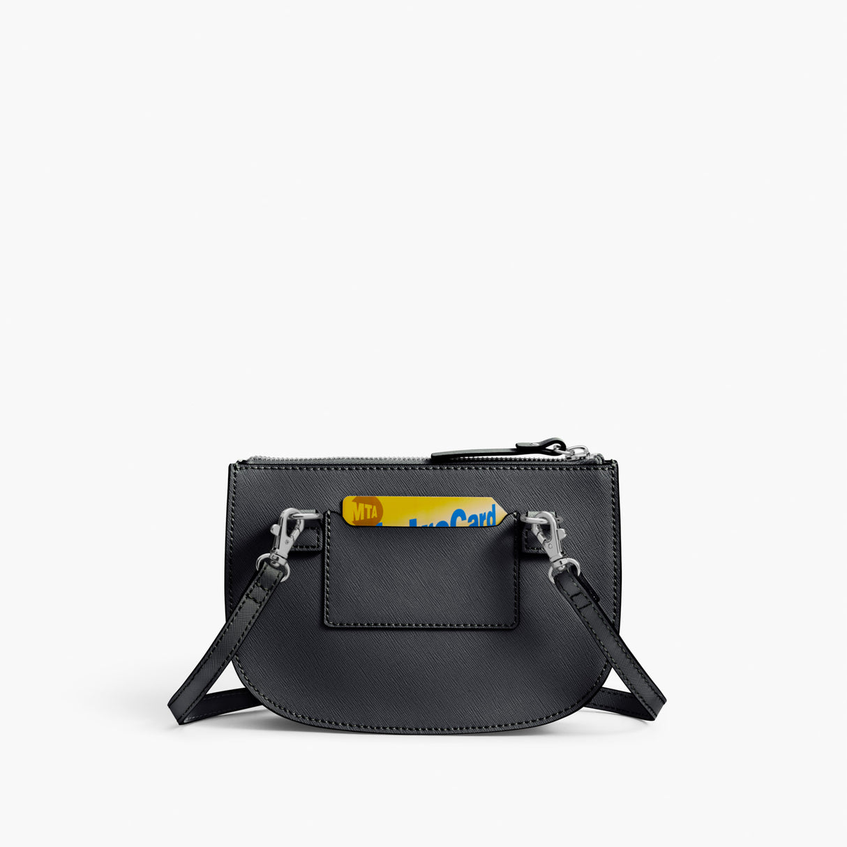 Back Card Slot - Waverley 2 - Saffiano Leather - Dark Grey / Silver / Azure - Crossbody Bag - Lo & Sons
