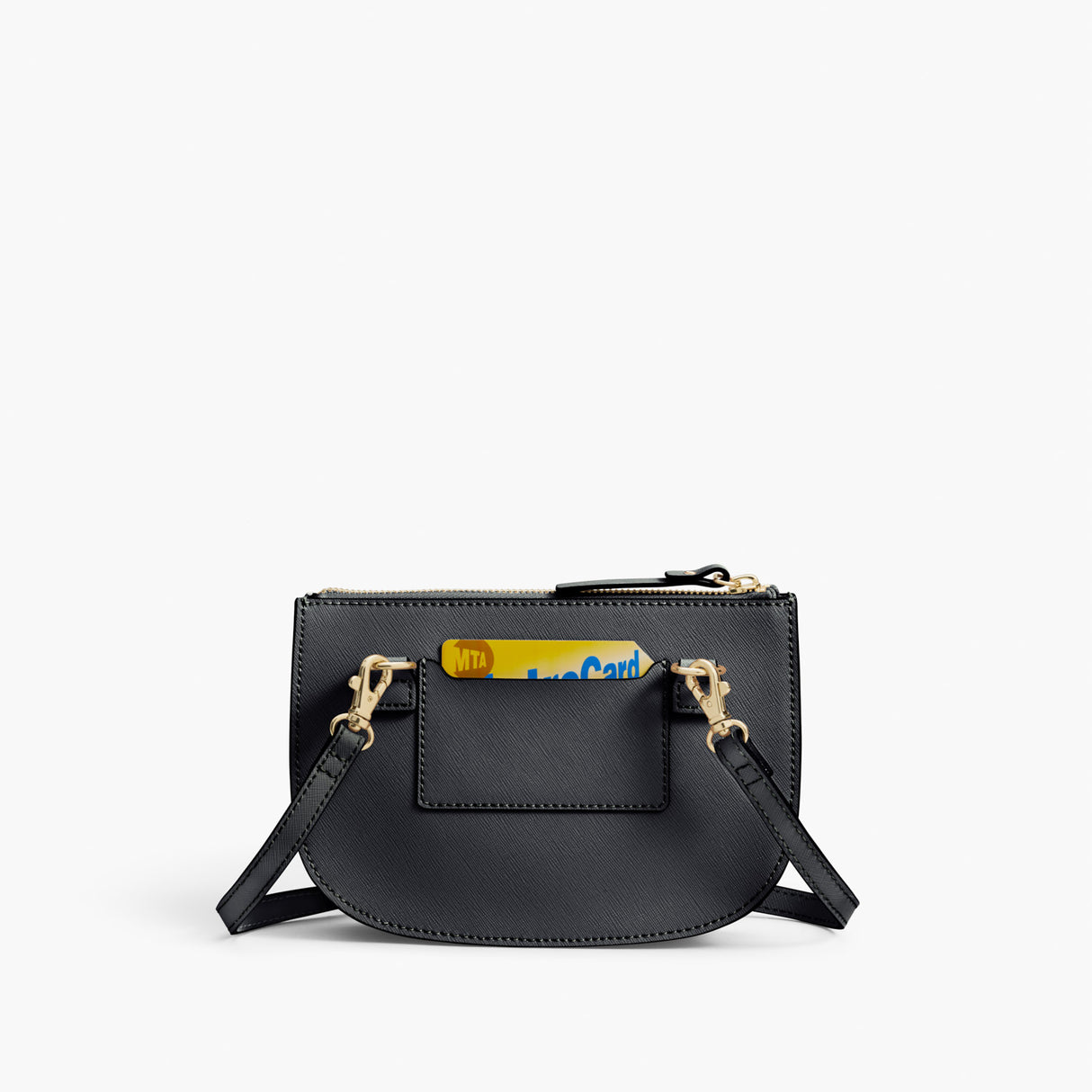 Back Card Slot - Waverley 2 - Saffiano Leather - Dark Grey / Gold / Grey - Crossbody Bag - Lo & Sons