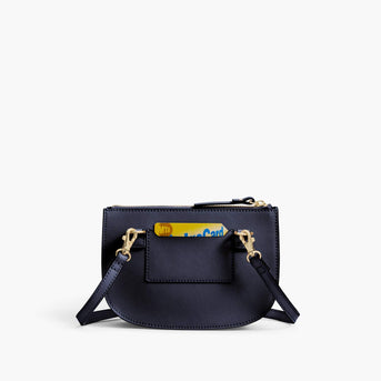 Back Card Slot - Waverley 2 - Saffiano Leather - Deep Navy / Gold / Camel - Crossbody Bag - Lo & Sons