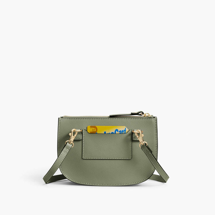 Back Card Slot - Waverley 2 - Saffiano Leather - Sage Green / Gold / Camel - Crossbody Bag - Lo & Sons