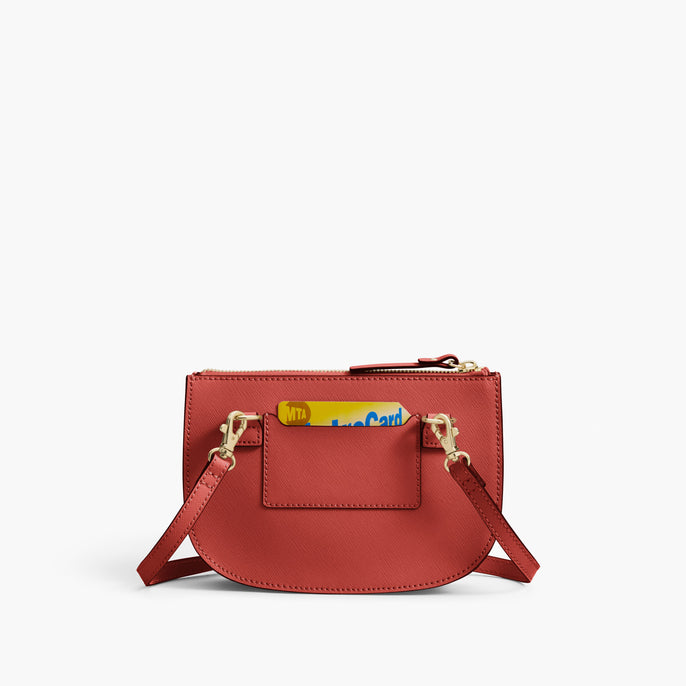 Back Card Slot - Waverley 2 - Saffiano Leather - Santa Fe Red / Gold / Camel - Crossbody Bag - Lo & Sons
