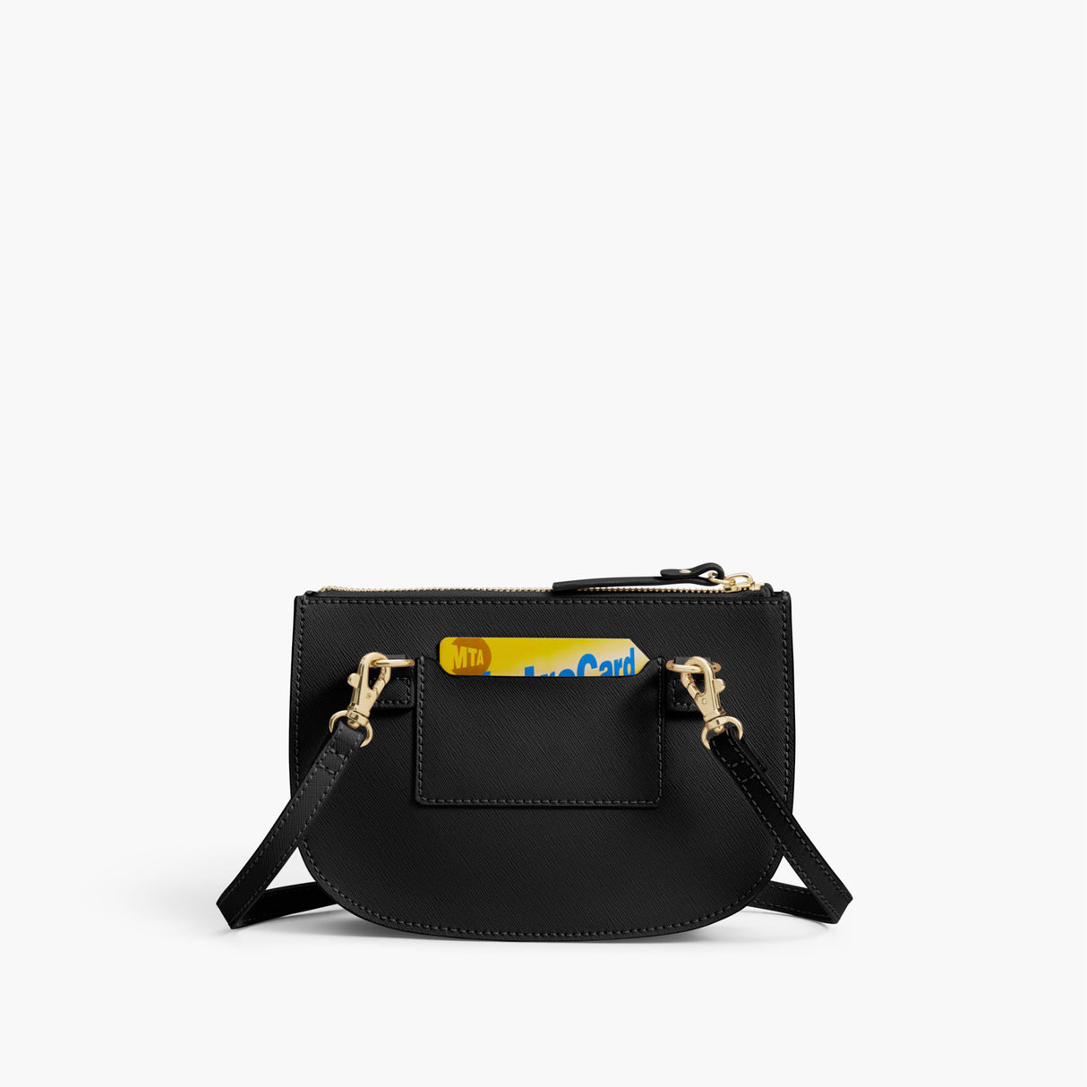 Back Card Slot - The Waverley 2 - Saffiano Leather - Black / Gold / Grey - Crossbody - Lo & Sons