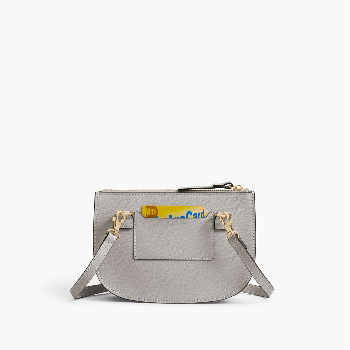 Back Card Slot - The Waverley 2 - Saffiano Leather - Light Grey / Gold / Grey - Crossbody - Lo & Sons