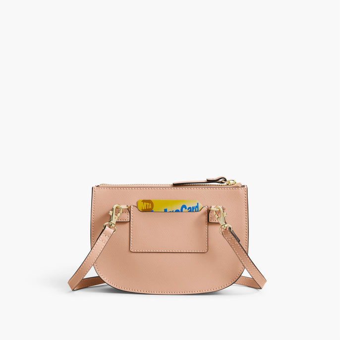 Back Card Slot - The Waverley 2 - Saffiano Leather - Rose Quartz / Gold / Camel - Crossbody - Lo & Sons