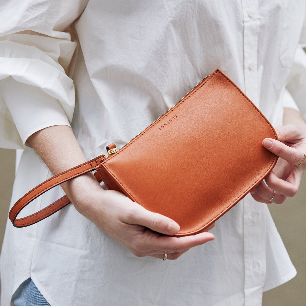 Casual Wristlet - The Waverley 2 - Nappa Leather - Sienna / Gold / Camel - Crossbody - Lo & Sons