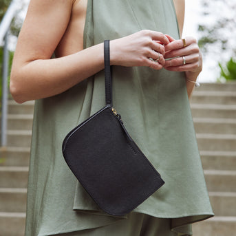 Casual Wristlet - The Waverley 2 - Saffiano Leather - Black / Gold / Grey - Crossbody - Lo & Sons