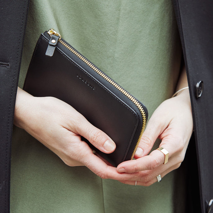 Close Up - The Leather Wallet - Nappa Leather - Black / Gold / Grey - Small Accessory - Lo & Sons