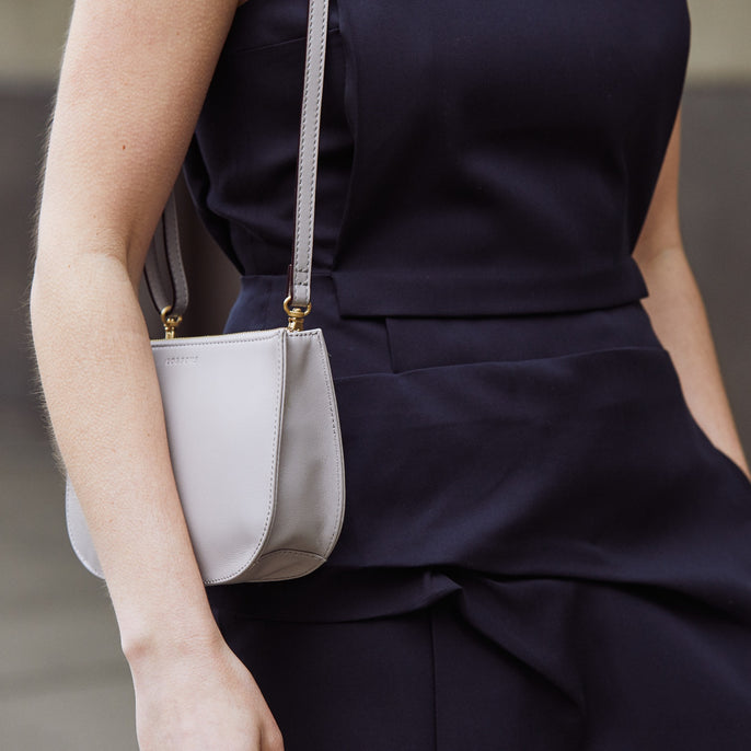 Evening Shoulder - The Waverley 2 - Nappa Leather - Light Grey / Gold / Grey - Crossbody - Lo & Sons