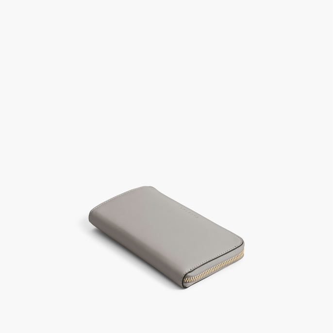 Front - The Leather Wallet - Nappa Leather - Light Grey / Gold / Grey - Small Accessory - Lo & Sons