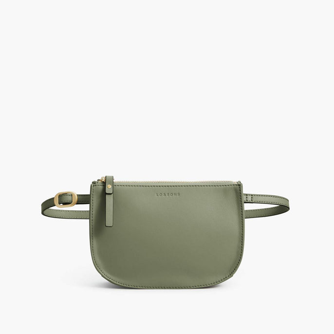 Front Belt - Waverley 2 - Nappa Leather - Sage Green / Gold / Camel - Crossbody Bag - Lo & Sons