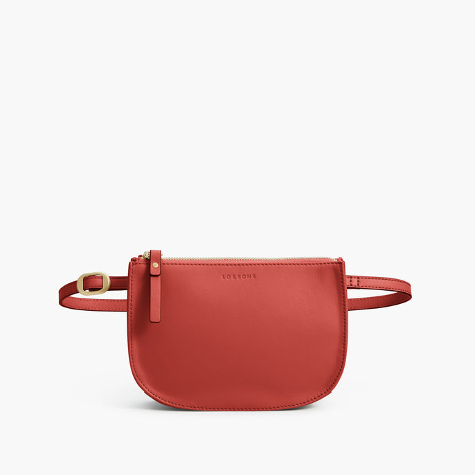Front Belt - Waverley 2 - Nappa Leather - Santa Fe Red / Gold / Camel - Crossbody Bag - Lo & Sons