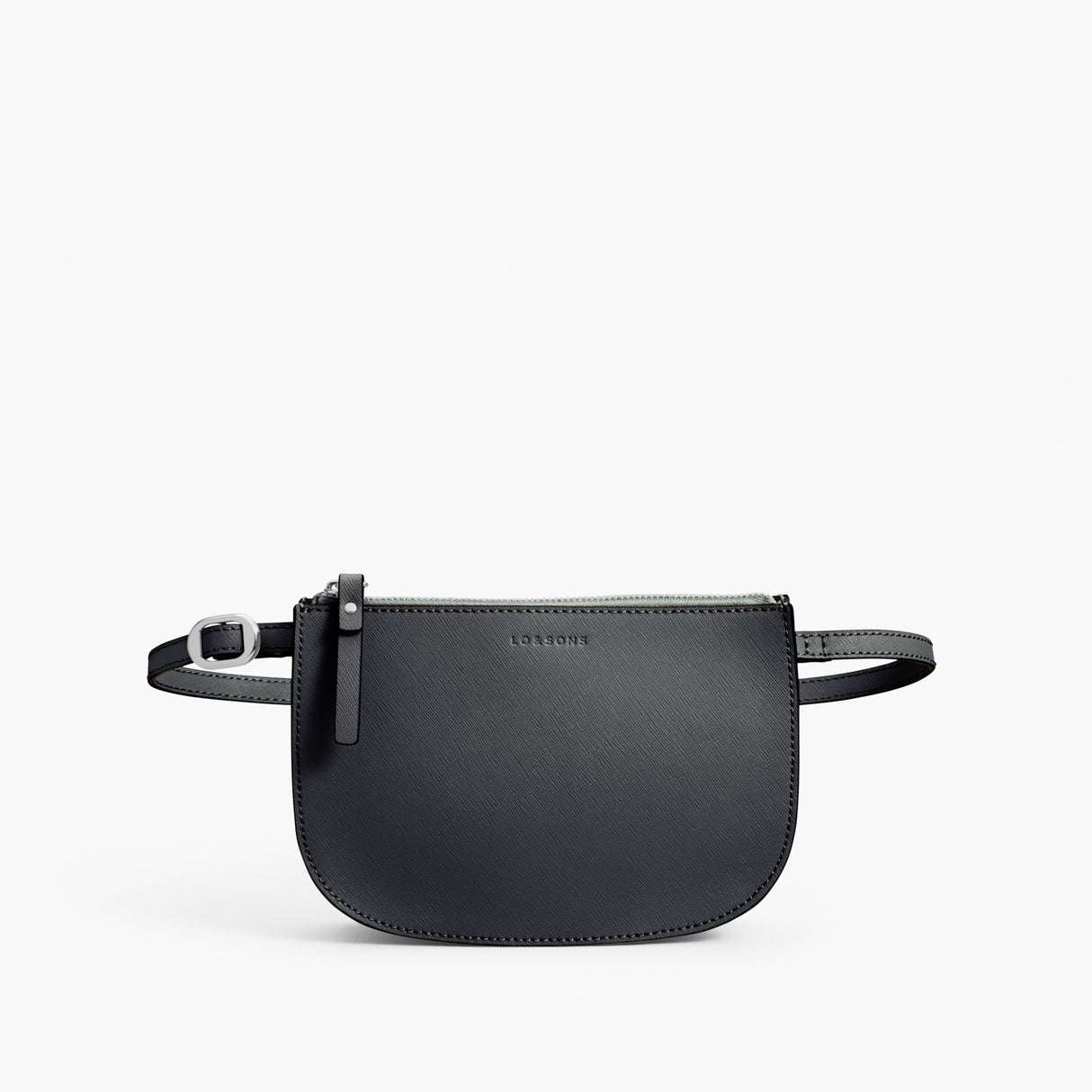 Front Belt - Waverley 2 - Saffiano Leather - Dark Grey / Silver / Azure - Crossbody Bag - Lo & Sons