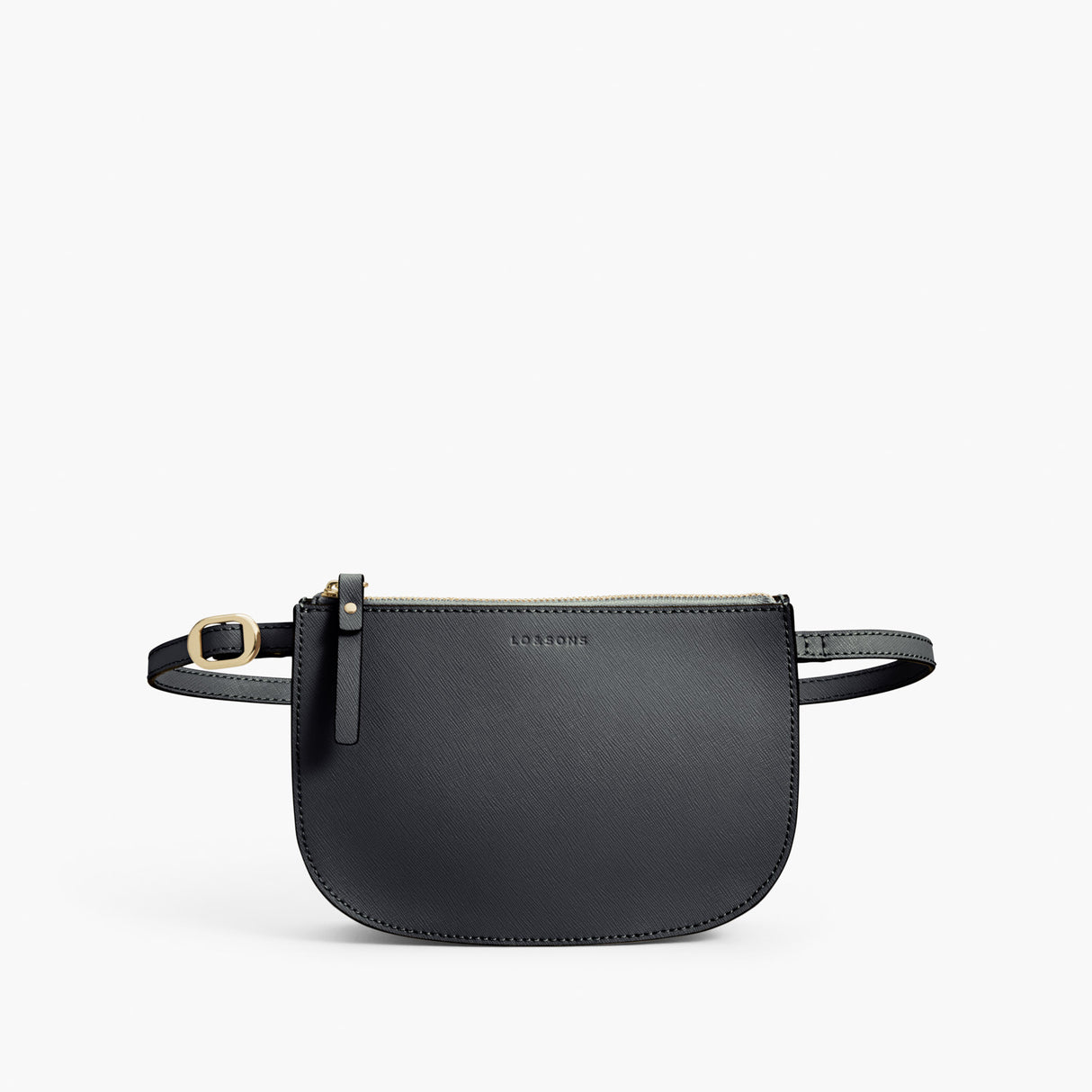 Front Belt - Waverley 2 - Saffiano Leather - Dark Grey / Gold / Grey - Crossbody Bag - Lo & Sons