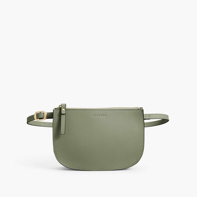 Front Belt - Waverley 2 - Saffiano Leather - Sage Green / Gold / Camel - Crossbody Bag - Lo & Sons