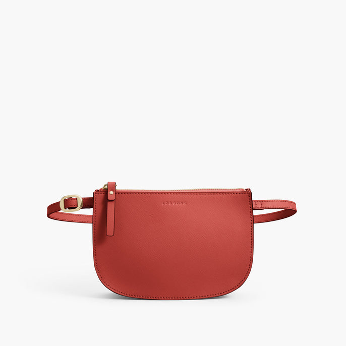 Front Belt - Waverley 2 - Saffiano Leather - Santa Fe Red / Gold / Camel - Crossbody Bag - Lo & Sons