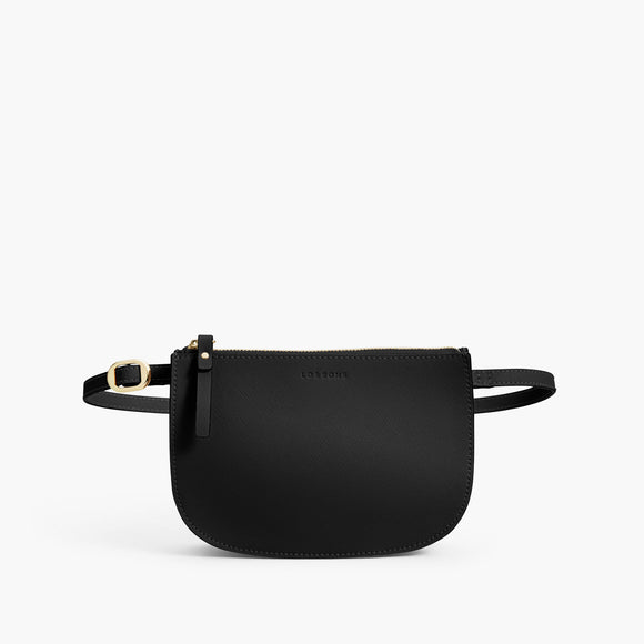Front Belt- The Waverley 2 - Saffiano Leather - Black / Gold / Grey - Crossbody - Lo & Sons