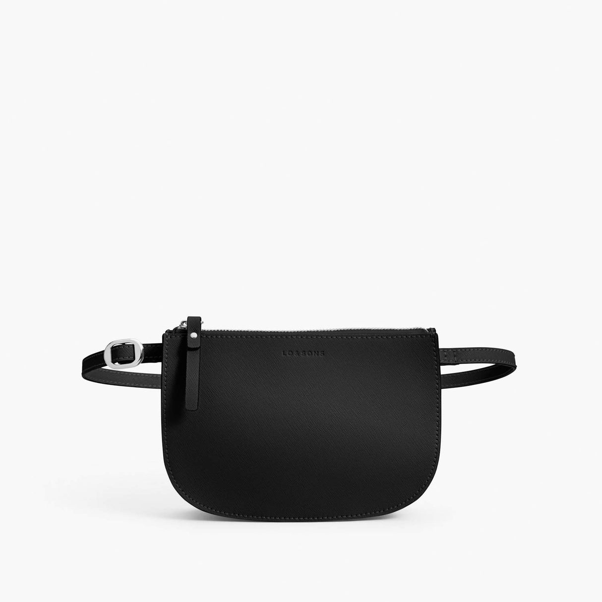 Front Belt - Waverley 2 - Saffiano Leather - Black / Silver / Grey - Crossbody Bag - Lo & Sons
