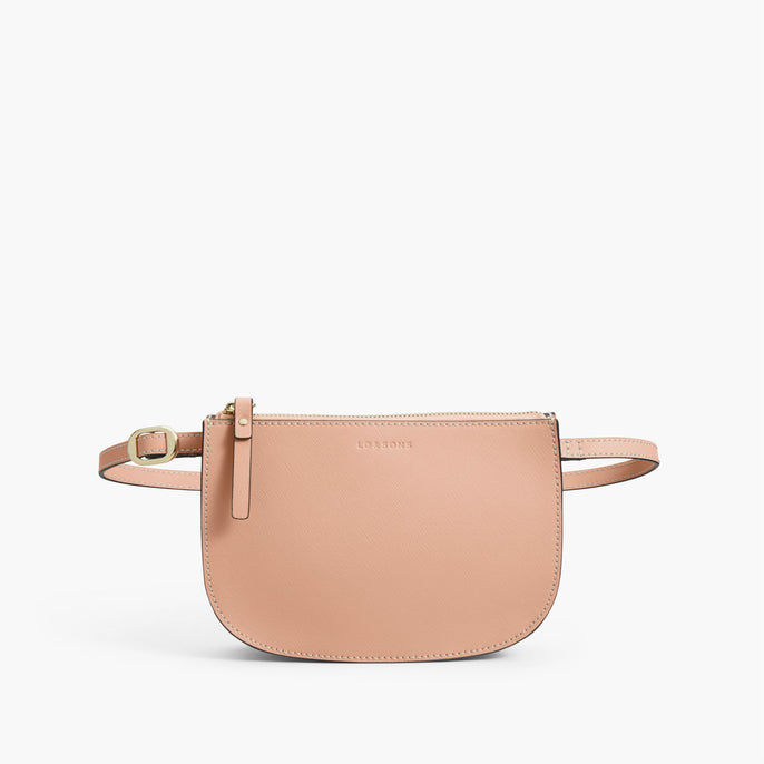 Front Belt - The Waverley 2 - Saffiano Leather - Rose Quartz / Gold / Camel - Crossbody - Lo & Sons